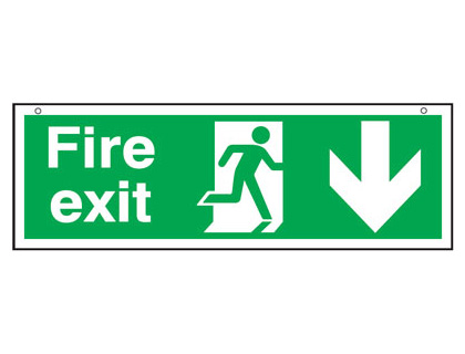 150 x 450 mm fire exit man arrow down 3 mm foam board signs.