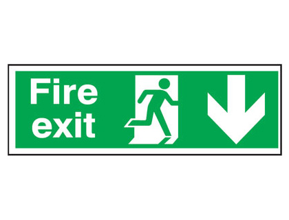 UK Fire Exit Signs - 150 x 450 mm fire exit man arrow down t bar foamed plastic 3 mm