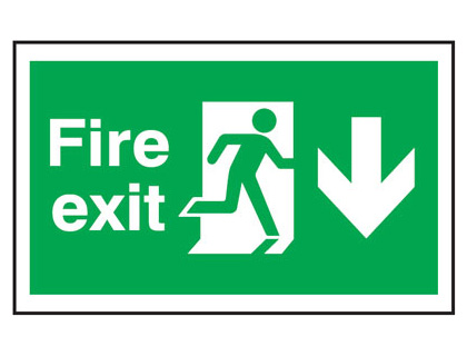 300 x 500 mm fire exit man arrow down anti slip self adhesive label