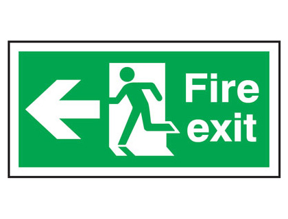 UK Fire Exit Signs - 150 x 300 mm fire exit man arrow left self extinguishing rigid plastic