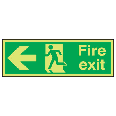UK Fire Exit Signs - 150 x 450 mm fire exit (running man & arrow left 1 mm durable aluminium