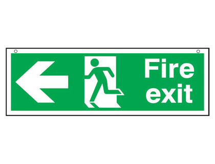 150 x 450 mm fire exit man arrow left 3 mm foam board signs.
