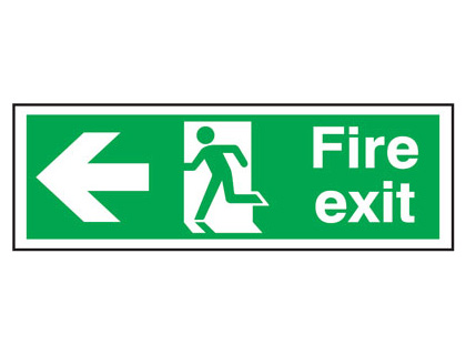 UK Fire Exit Signs - 150 x 450 mm fire exit man arrow left t bar foamed plastic 3 mm