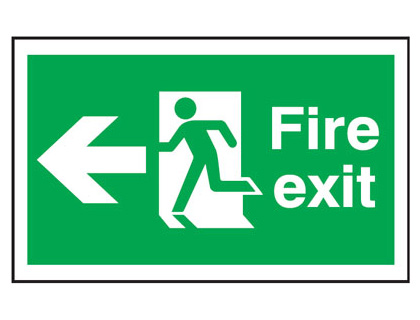 300 x 500 mm fire exit man arrow left anti slip self adhesive label