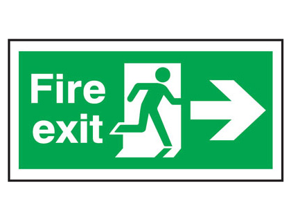 UK Fire Exit Signs - 150 x 300 mm fire exit man arrow right self extinguishing rigid plastic