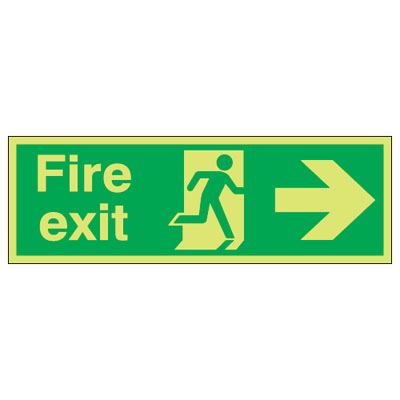 UK Fire Exit Signs - 150 x 450 mm fire exit (running man & arrow right 1 mm durable aluminium