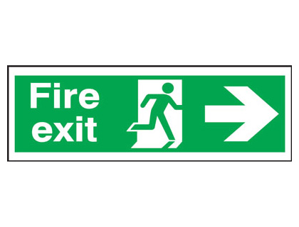 150 x 450 mm fire exit man arrow right 3 mm foam board signs.