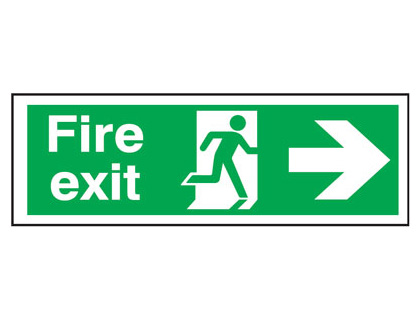 UK Fire Exit Signs - 150 x 450 mm fire exit man arrow right t bar foamed plastic 3 mm