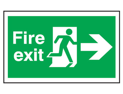 300 x 500 mm fire exit man arrow right anti slip self adhesive label