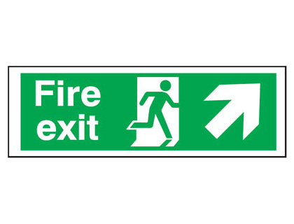 UK Fire Exit Signs - 300 x 600 mm fire exit man arrow up right self adhesive vinyl labels.
