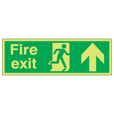 UK Fire Exit Signs - 150 x 450 mm fire exit (running man & arrow u 1 mm durable aluminium