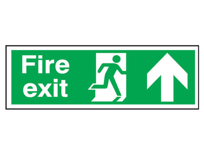 UK Fire Exit Signs - 150 x 450 mm fire exit man arrow up t bar foamed plastic 3 mm