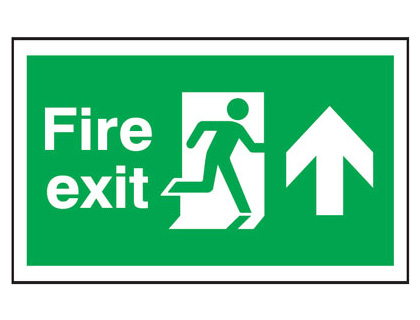 300 x 500 mm fire exit man arrow up anti slip self adhesive label