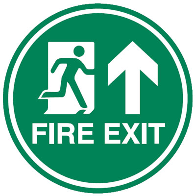 450Diameter fire exit man arrow up anti slip self adhesive label