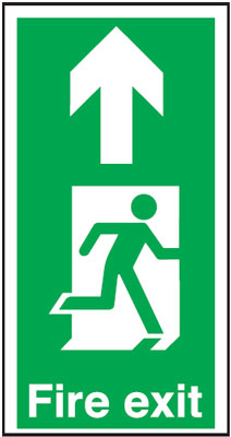 550 x 275 fire exit man arrow up anti slip self adhesive label