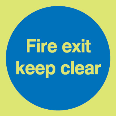 150 x 150 mm fire exit keep clear self adhesive vinyl labels.