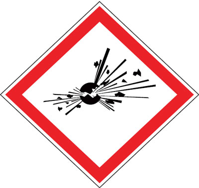 Multi pack safety signs & labels -  explosives 70 x 70 mm 6 pack