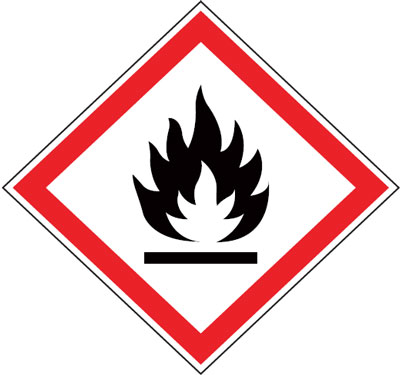 Multi pack safety signs & labels -  flammables 70 x 70 mm 6 pack