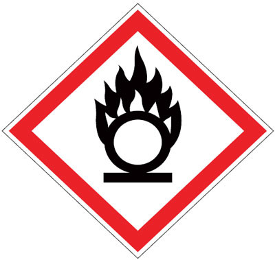 Multi pack safety signs & labels -  oxidizers 70 x 70 mm 6 pack