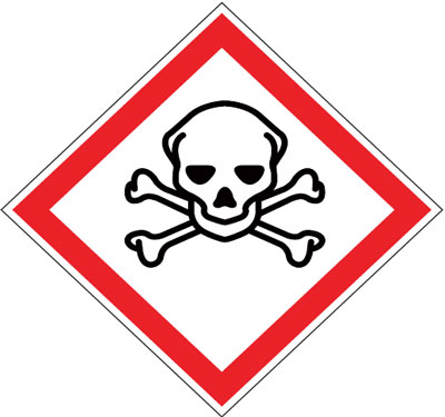 Multi pack safety signs & labels -  acute toxicity 70 x 70 mm 6 pack