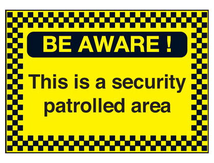 UK hazard signs - A2 be aware! this is a security self adhesive vinyl labels.