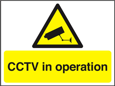 100 x 200 mm cctv in operation face adhesive vinyl