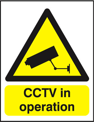 250 x 200 mm cctv in operation face adhesive vinyl