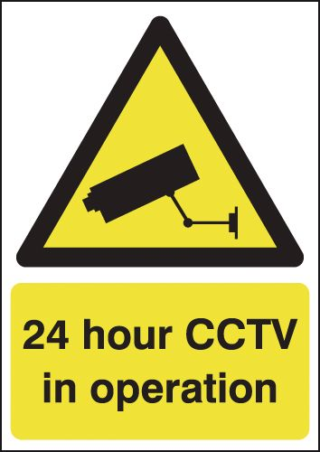 UK hazard signs - A3 24 hour cctv in operation self adhesive vinyl labels.