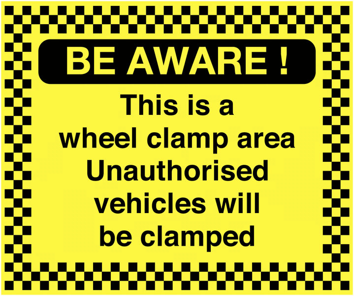 UK hazard signs - 450 x 600 mm be aware! this is a wheel clamp self adhesive vinyl labels.