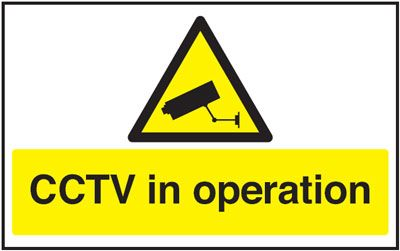 UK hazard signs - 100 x 200 mm cctv in operation self adhesive vinyl labels.