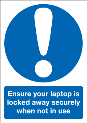 A5 ensure your laptop is locked away self adhesive vinyl labels.