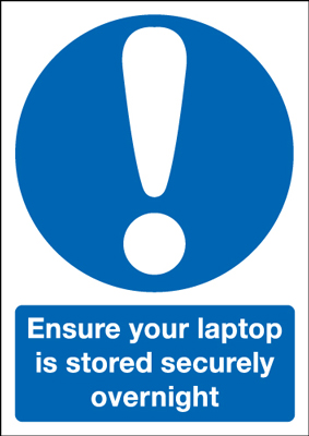 A5 ensure your laptop is stored securely self adhesive vinyl labels.