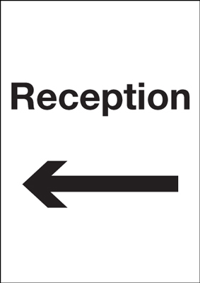 A5 reception arrow left self adhesive vinyl labels.