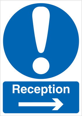 A5 reception arrow right self adhesive vinyl labels.