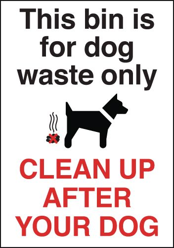 150 x 125 mm this bin is for dog waste only anti glare 2 mm plastic