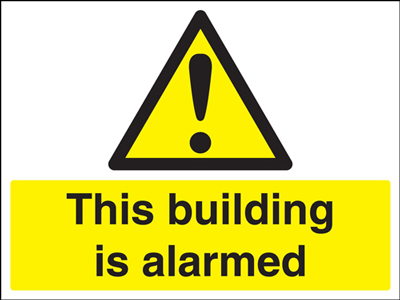 UK hazard signs - 100 x 200 mm this building is alarmed 1.2 mm rigid plastic signs.