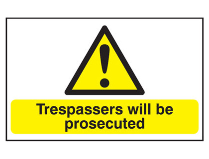 UK hazard signs - 200 x 250 mm trespassers will be prosecuted self adhesive vinyl labels.
