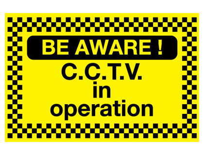 400 x 600 mm be aware! cctv in operation self adhesive vinyl labels.
