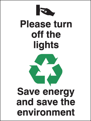 Eco signs - 100 x 75 mm please turn off the lights