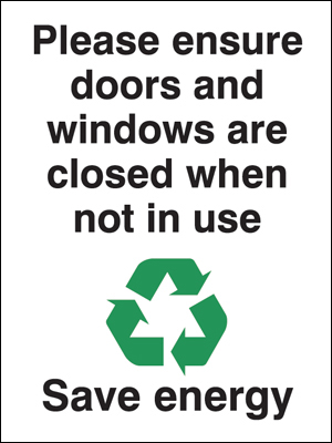 Recycling signs - 100 x 75 mm please ensure doors and windows