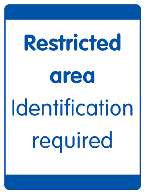 UK security signs - 400 x 300 mm restricted area identification
