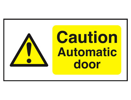 50 x 250 mm caution automatic door window cling