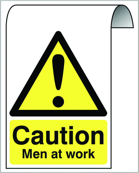 500 x 300 mm caution men at work 2 mm dibond brushed steel effect sign.