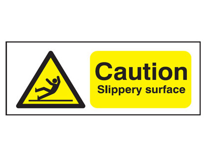 6 pack of labels 50 x 150 mm caution slippery surface self adhesive vinyl label