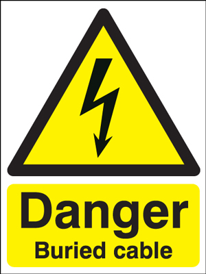 100 x 75 mm danger buried cable 1.2 mm rigid plastic signs.