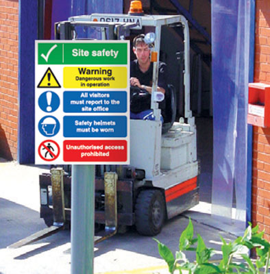 400 x 300 mm site safety warning dangerous post mounted aluminium 3 mm