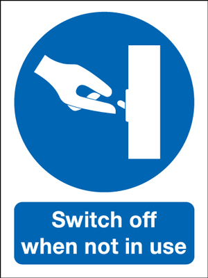 100 x 75 mm switch off when not in use self adhesive rigid plastic
