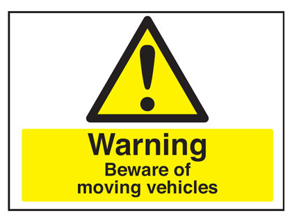 450 x 600 mm warning beware of moving vehicle 2 mm plastic foamex