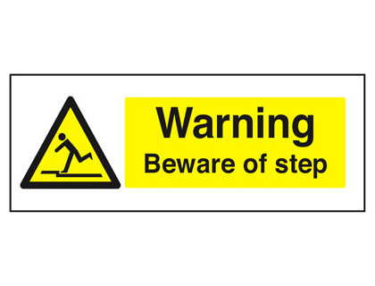 100 x 250 mm beware of step face adhesive vinyl