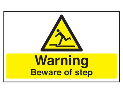 300 x 500 mm warning beware of step anti slip self adhesive label